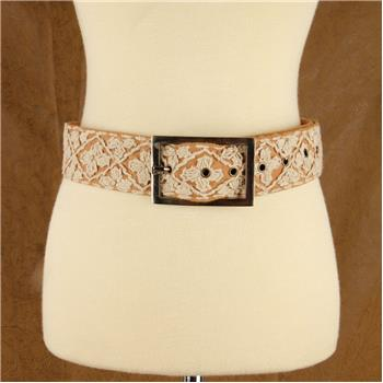 GLOBAL COLOR HAND EMBROIDERED BELT TAN S/M (F16)