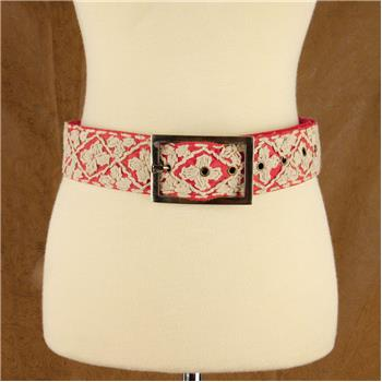 GLOBAL COLOR HAND EMBROIDERED BELT CORAL S/M (S16)