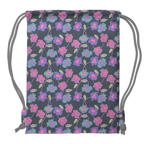 DRAWSTRING BACKPACK GREY POPPIES (S18)