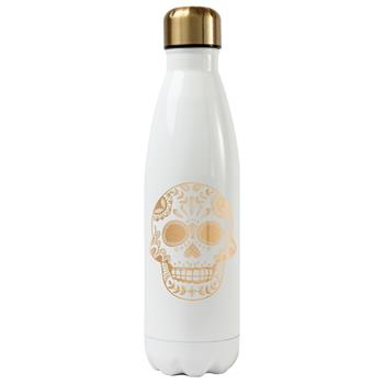 SUGAR SKULL WATER BOTTLE WHITE (S17)