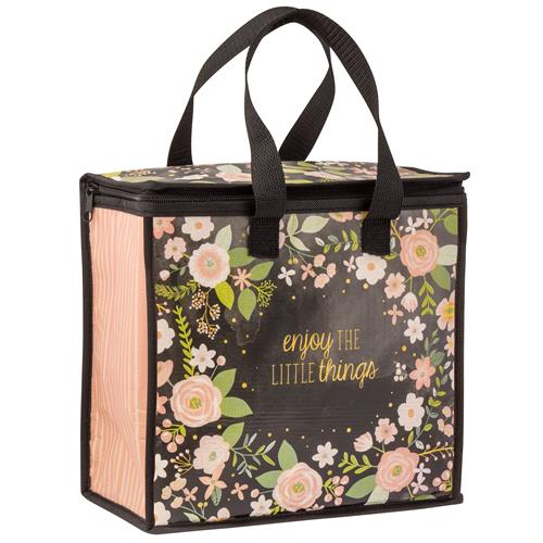 COOLER BAG CHARCOAL FLOWERS (F18)