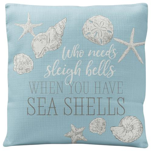 HOLIDAY SQUARE PILLOW  SEA SHELLS (H19)