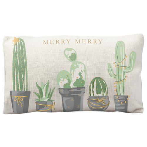 HOLIDAY LUMBAR PILLOW CACTUS (H19)