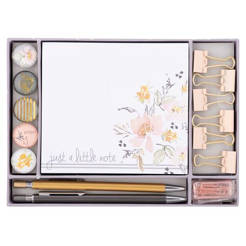 STATIONERY SET  GRAY FLORAL (S20)