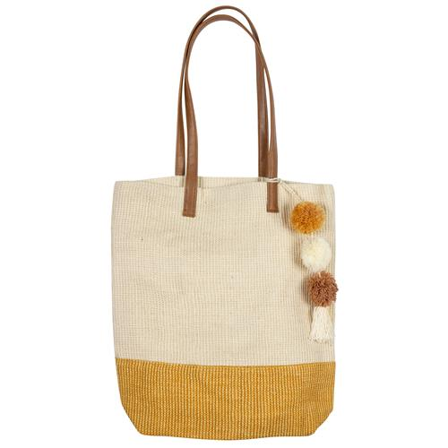 TWO-TONED TOTE MUSTARD/TAN