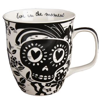 Karma | Boho Black and White Mug Sugar Skull