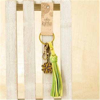 GLOBAL COLOR SUEDE TASSEL KEY FOB GREEN (F16)