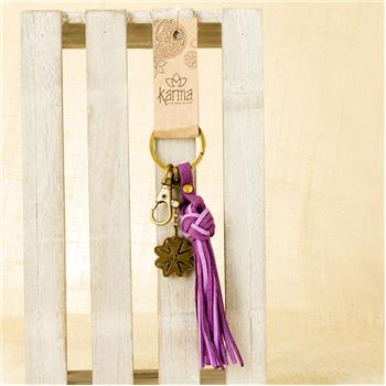 GLOBAL COLOR SUEDE TASSEL KEY FOB PURPLE (F16)