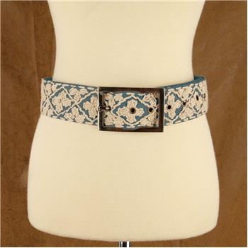 GLOBAL COLOR HAND EMBROIDERED BELT CHAMBRAY S/M (S16)