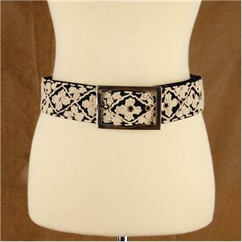 GLOBAL COLOR HAND EMBROIDERED BELT BLACK S/M (S16)