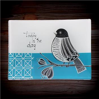 BLACK AND WHITE GLASS TRAY BIRD (S15)