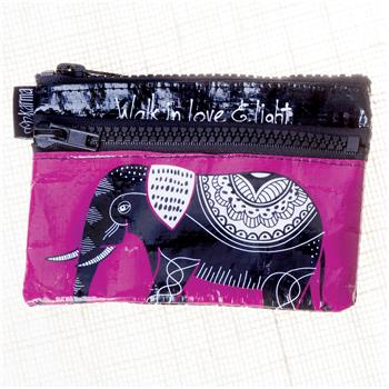 BLACK AND WHITE ZIP COIN PURSE ELEPHANT (F16)