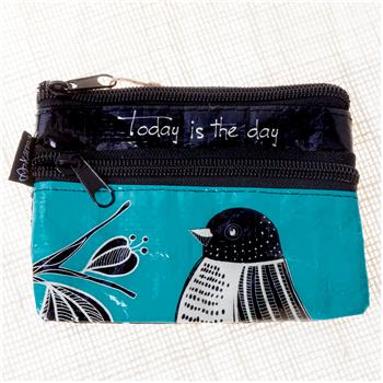 BLACK AND WHITE ZIP COIN PURSE BIRD (S15)