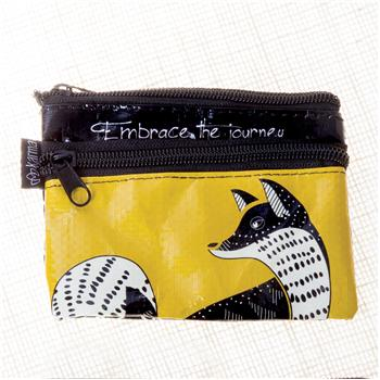BLACK AND WHITE ZIP COIN PURSE FOX (S15)