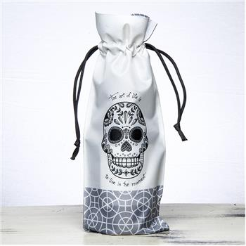 BLACK AND WHITE WINE BAG SUGAR SKULL (F16)