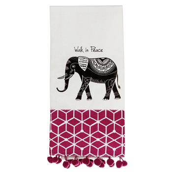 BLACK AND WHITE TEA TOWEL ELEPHANT (F16)
