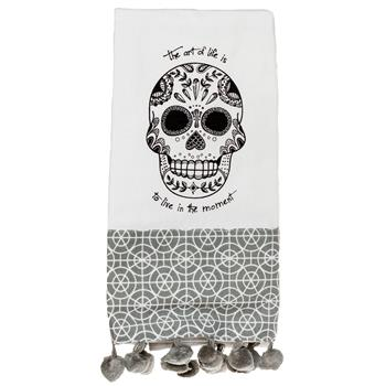 BLACK AND WHITE TEA TOWEL SUGAR SKULL (S15)