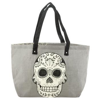 BLACK AND WHITE JUTE TOTE SUGAR SKULL (S15)