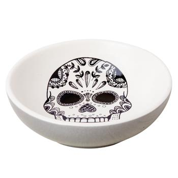 BLACK AND WHITE RING BOWL SUGAR SKULL (S15)