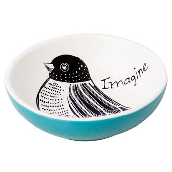 BLACK AND WHITE RING BOWL BIRD (S15)