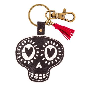 BLACK AND WHITE KEY CHAIN SUGAR SKULL (F15)