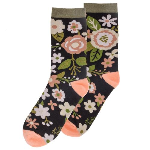 SOCKS CHARCOAL FLOWERS (F18)