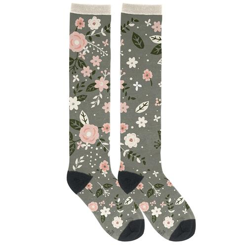 KNEE HIGH SOCKS CHARCOAL FLOWERS (F18)
