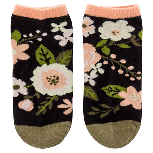 ANKLE SOCKS CHARCOAL FLOWERS (F18)
