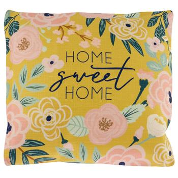 SQUARE PILLOW  MUSTARD FLORAL (F19)