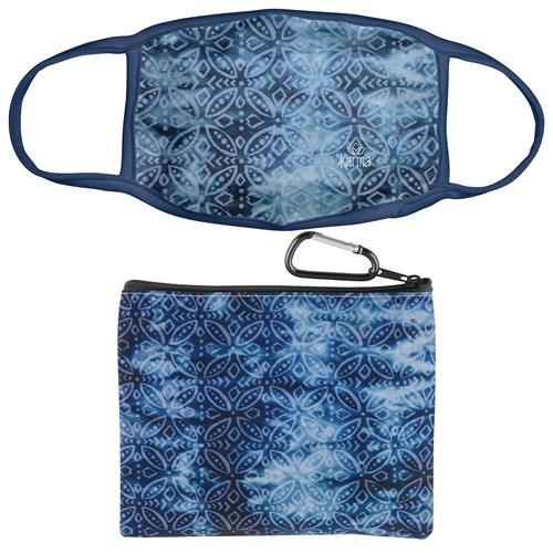 FACE MASK WITH ZIPPER POUCH INDIGO MEDALLION (F20)