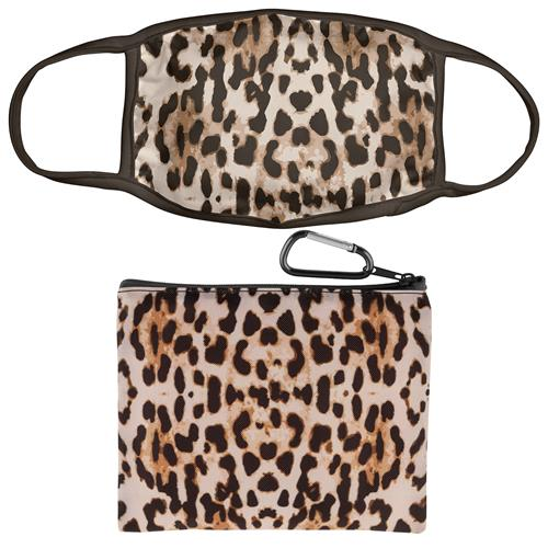 FACE MASK WITH ZIPPER POUCH LEOPARD PRINT (F20)