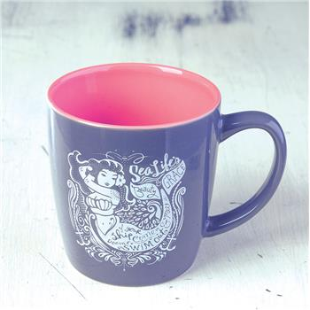 NAUTICAL CHARCOAL MUG MERMAID (F16)