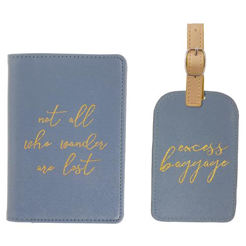 PASSPORT HOLDER & LUGGAGE TAG SET BLUE (S19)