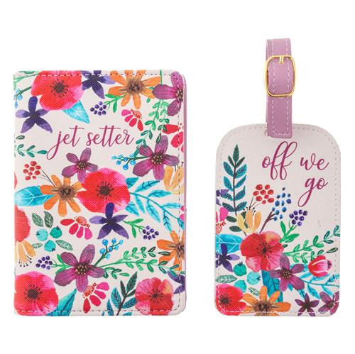 PASSPORT HOLDER & LUGGAGE TAG SET FLORAL (S19)