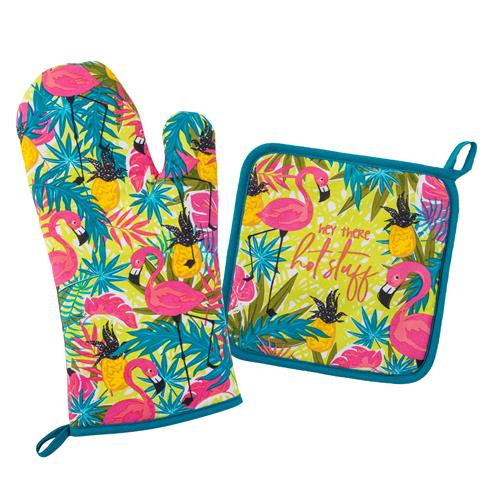 OVEN MITT & POT HOLDER  FLAMINGO (F19)