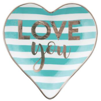 HEART TRINKET TRAY  TUR/LOVE YOU (F17)