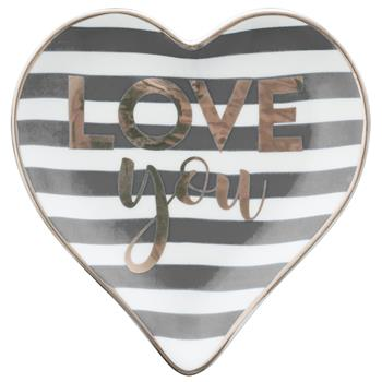 HEART TRINKET TRAY  CHARCOAL/LOVE YOU (F17)
