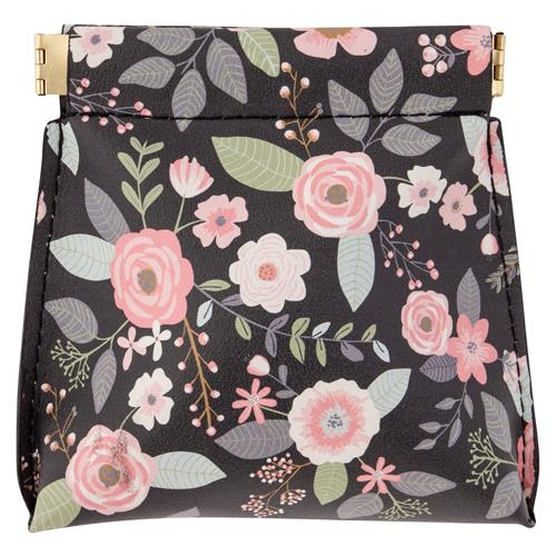 COIN PURSE CHARCOAL FLOWERS
