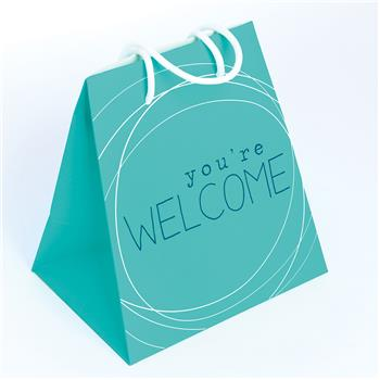 LARGE GIFT BAG TURQ/WELCOME (F16)